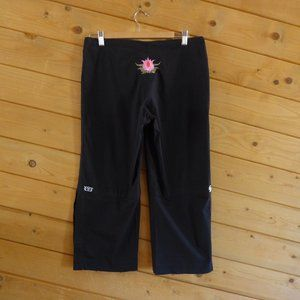 Be Present Black Lotus Yoga Wide Leg Crop Pants L